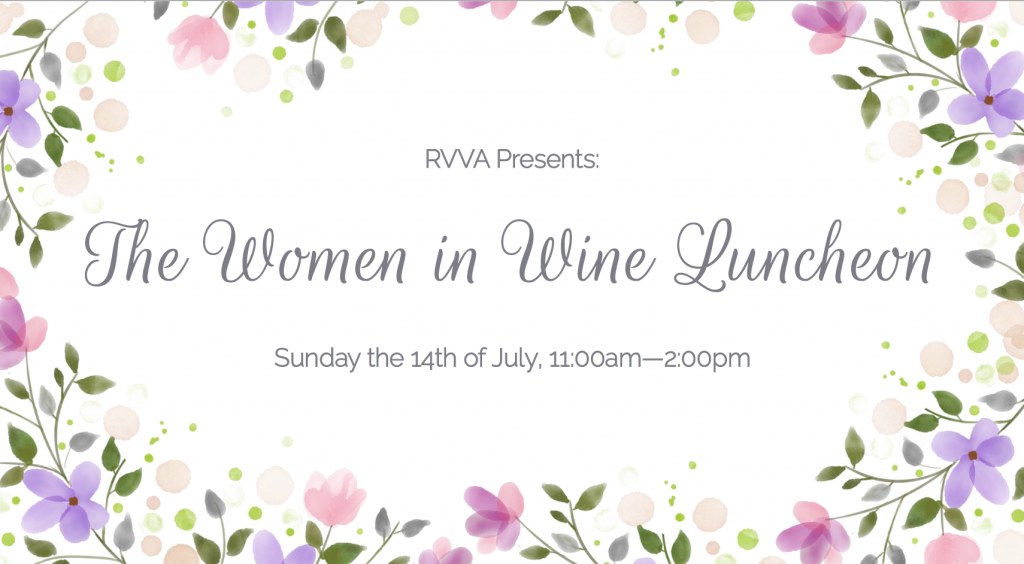 RVVA Presents: The Women in Wine Luncheon Poster